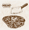 hand drawn sketch steak meat products set vector image vector image