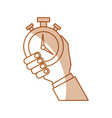 hand human with chronometer watch isolated icon vector image