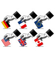 hand putting voting paper with flags of usa vector image