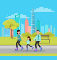 happy family roller skating city park skyscrapers vector image