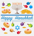 happy hanukkah card template with food and candles vector image vector image