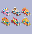 isometric food trucks collection vector image vector image