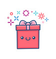kawaii valentine gift box vector image