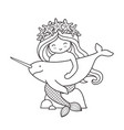 mermaid with narwhal sitting on a rock vector image