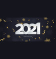 new year 2021 gold party confetti snowflake banner vector image