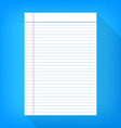 notebook paper isolated blue background empty vector image