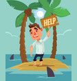 office worker man character lost desert island vector image