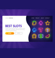 online slot - landing page mock up website vector image vector image