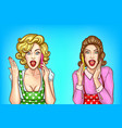 pop art pretty women talk on mobile phones vector image