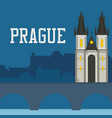 prague old castle church with night cityscape vector image