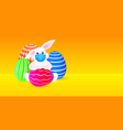 rabbit in mask with colorful eggs happy easter vector image