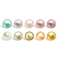 realistic different colors pearls set round vector image vector image
