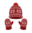 red knitted winter hat and gloves vector image vector image