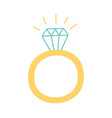 ring with diamond jewelry icon in cartoon style vector image vector image