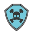 Security shield with skull isolated icon design vector image
