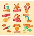 set cute bright summer icons with typographic vector image