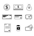 set of financial icons in black and white design vector image vector image