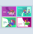 set of landing page templates with people which vector image