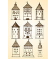 set towers sketch vector image vector image