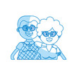 silhouette old couple with hairstyle and glasses vector image vector image