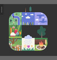 simple things - forest set composition on a black vector image vector image