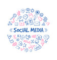 social media network hand drawn infographic vector image vector image