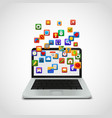 social network icons cloud with laptop vector image vector image