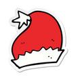 sticker of a cartoon santa hat vector image vector image