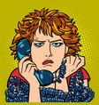 woman upset sad human emotion telephone vector image vector image