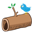 wood log and a bird on it vector image vector image