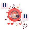 world music day red disc sounds planet of vector image