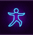 yoga warior asana neon sign vector image
