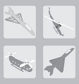 set of icons with military aircraft and hel vector image
