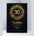 30 years anniversary invitation card template vector image vector image
