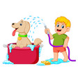 a boy is cleaning his brown dog in the red pail vector image vector image