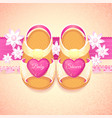 baby shower baby girl pink shoes vector image vector image