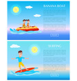 banana boat and surfing summer sport activity web vector image vector image