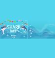 birthday invitation cards shark birthday party vector image vector image