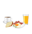 breakfast set plate with coffee and juice vector image vector image
