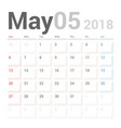 calendar planner may 2018 week starts sunday vector image vector image