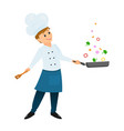 chef with a frying pan vector image vector image