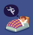 children sleep kid in bed dreaming vector image vector image