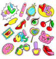 comic colorful patches collection vector image vector image