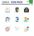 coronavirus awareness icons 9 flat color icon vector image vector image