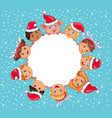 cute kids round blank banner new year of the pig vector image vector image
