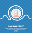 Door icon sign Blue and white abstract background vector image