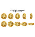 ethereum coin 3d gold coins set realistic vector image vector image
