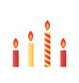 Flat colorful burning candles set isolated on