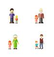 flat icon relatives set of boys son grandpa vector image vector image