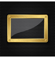 Glass in golden frame on abstract metal speaker gr vector image vector image